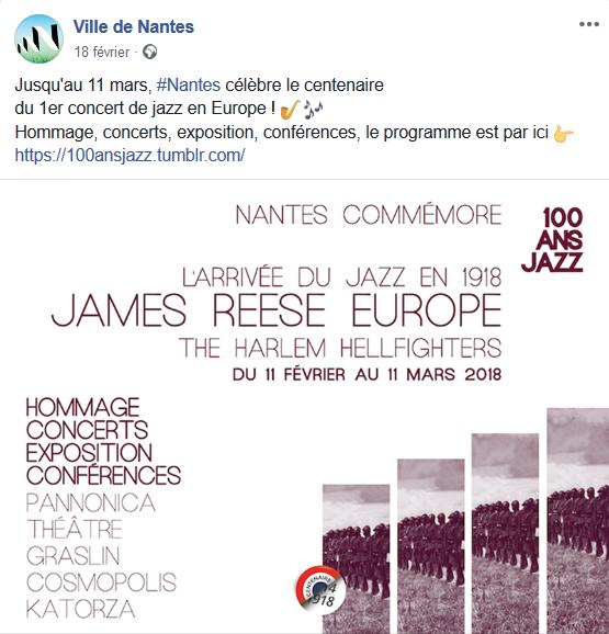 Capture du billet Facebook de la ville de Nantes à propos de la commémoration du centenaire du premier concert de jazz en Europe. Accéder au lien pour voir le billet original sur Facebook.