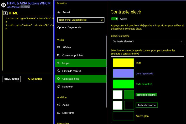 Comparaison du rendu par défaut d'un bouton HTML et d'un bouton ARIA en mode de contraste élevé sous Windows