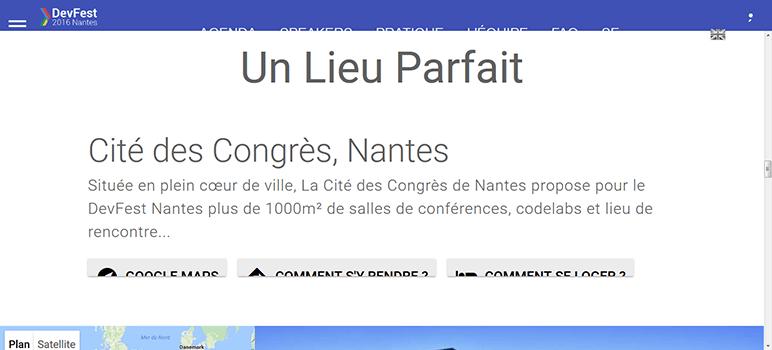 Capture du site du DevFest en zoom texte à 200% (description détaillée dans le texte ci-après)