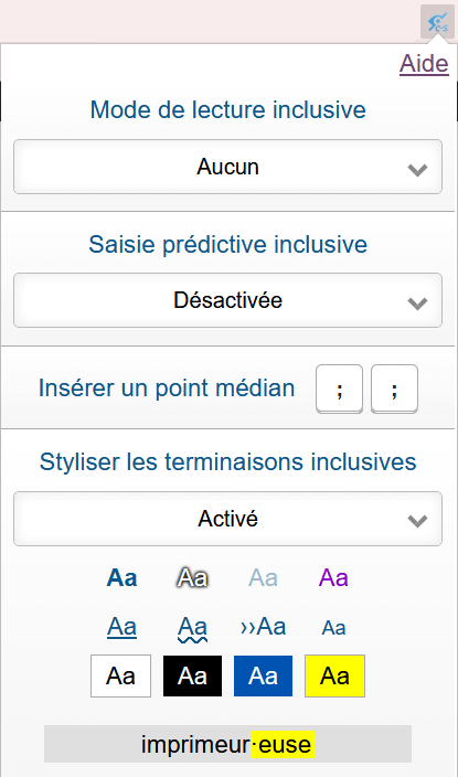 L'extension LÉIA et ses options : choix du mode de lecture inclusive, aides à la saisie inclusive, stylisation des terminaisons inclusives