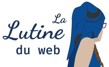 Logo de La Lutine du Web: représentation de moi-même de trois-quart dos avec un t-shirt à capuche pointue bleue