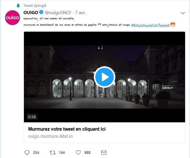 Tweet de Ouigo capturé sur mon ordinateur